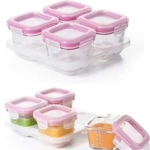 NEW | SET OF 4 | GLASS BLOCK BABY FOOD CONTAINERS